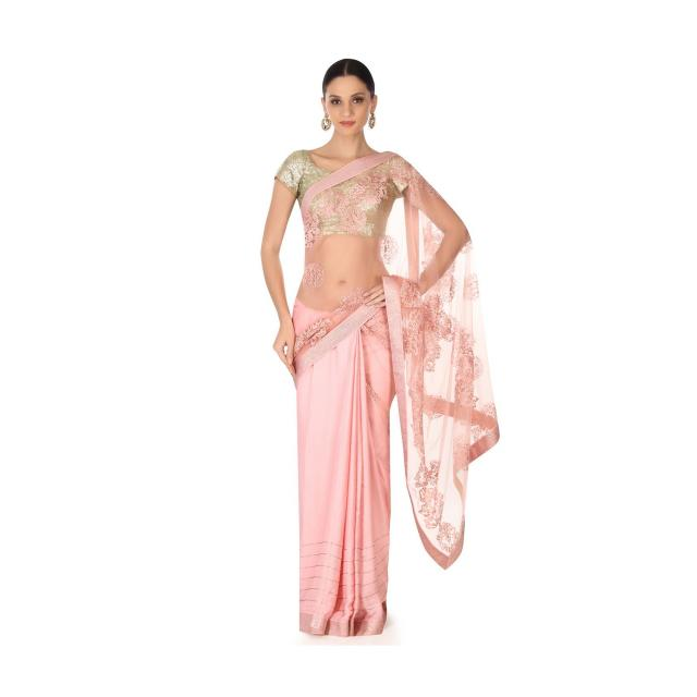 Half and half saree in pink in resham and kundan butti only on Kalki