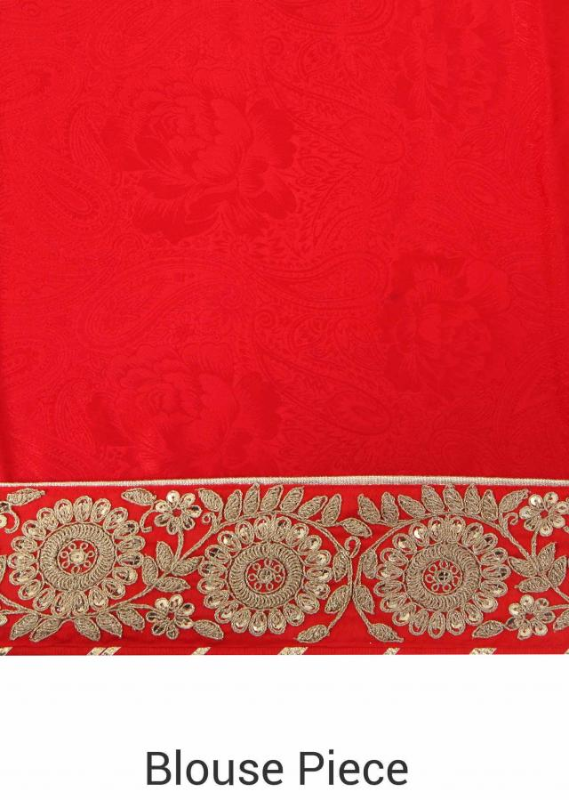 Half and half saree in red and cream with zari and sequin embroidery only on Kalki
