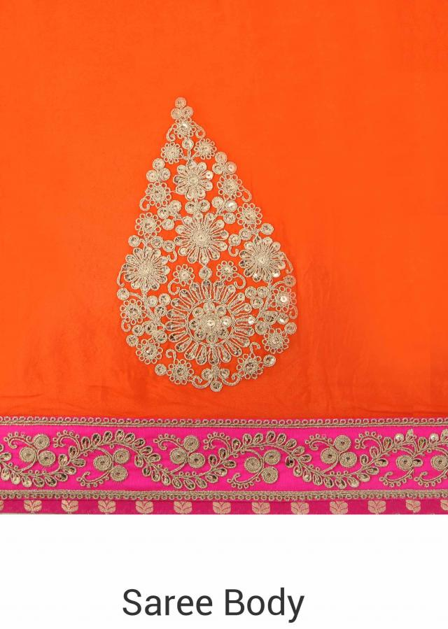 Half and half saree in red and orange with zari and sequin embroidery only on Kalki