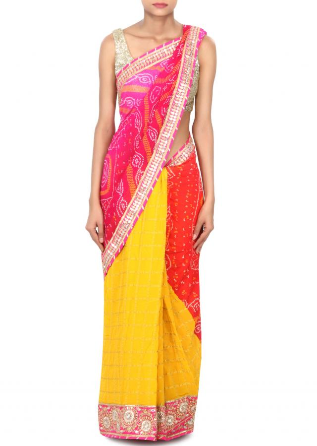Half and half saree in red and yellow in gotta patch work only on Kalki