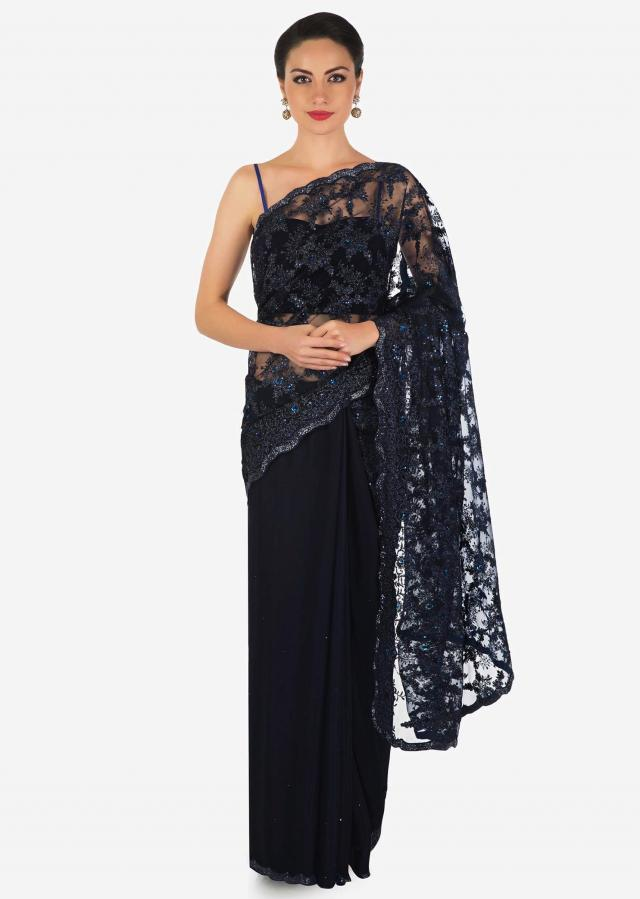 Half and half saree in navy blue in lace and chiffon with sequin and cut dana border only on Kalki