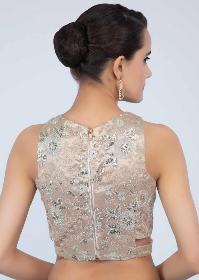 Halter neck golden beige embroidered net blouse with side cut outs only on Kalki