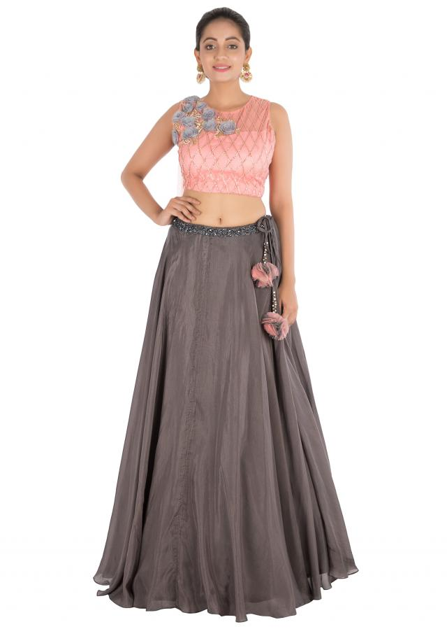 Charcoal Grey Lehenga With Light Pink Blouse With Hand Embroidery Online - Kalki Fashion