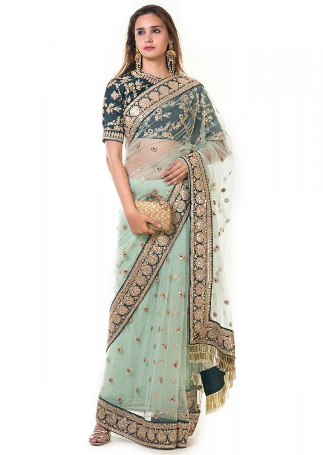 Sea Green Saree With Hand Embroidered Tassels And Bottle Green Blouse Online - Kalki Fashion
