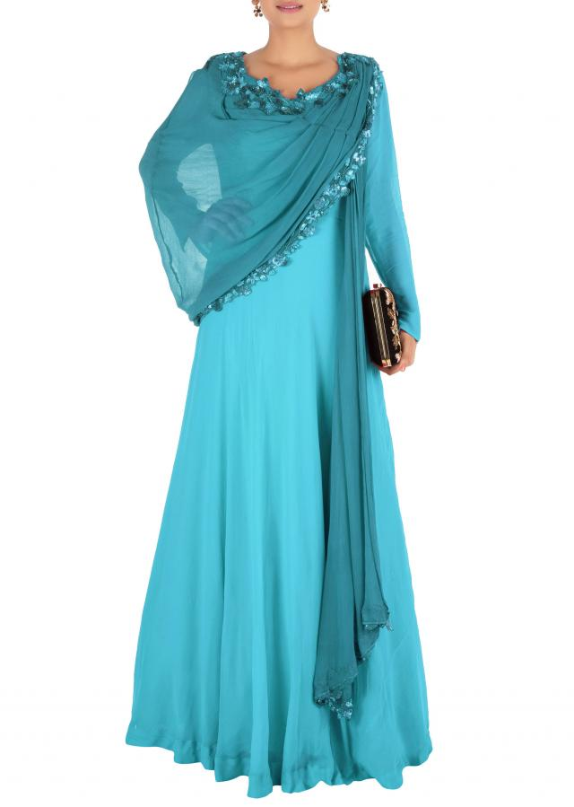 Hand Embroidered Cerulean Blue Flare Gown With Attahed Dupatta