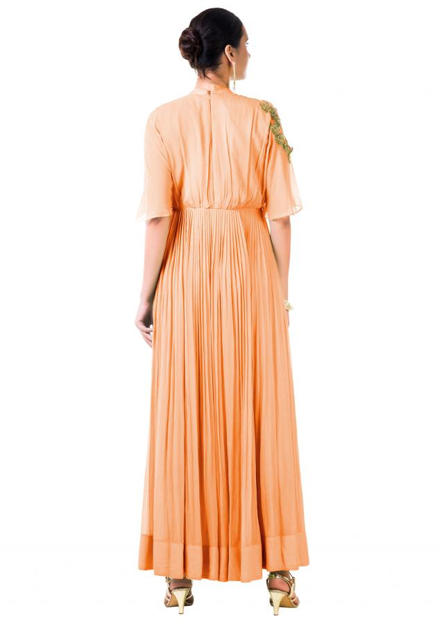Hand Embroidered Peach Overlapped Yoke Pleated Dress