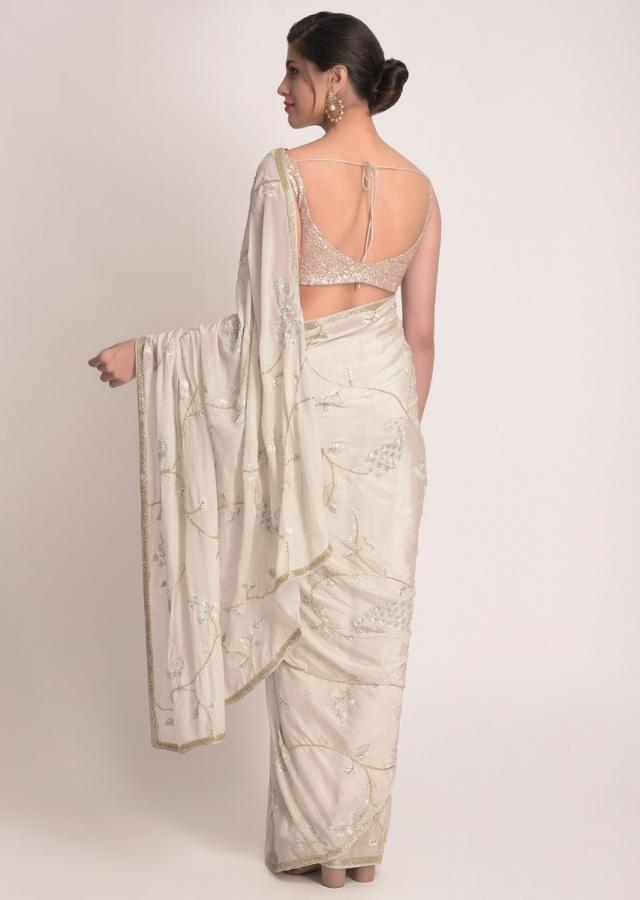 Harbor Grey Saree In Shimmer Chiffon With Floral Pattern In Paisley Motifs Online - Kalki Fashion