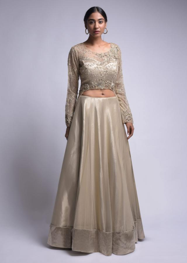 Hazelwood Gold Lehenga And Crop Top With A Long Back And 3D Floral Embroidery Online - Kalki Fashion