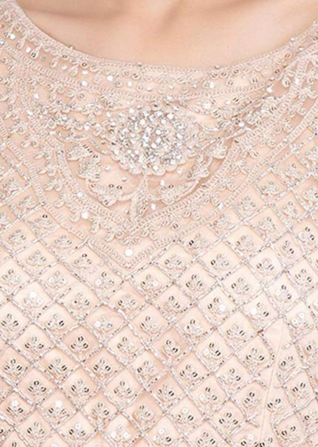 Heavy embroidered english peach anarkali with matching net dupatta only on Kalki