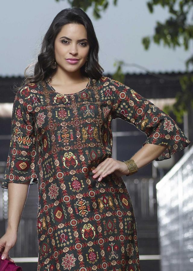 Henna Green Tunic With Tribal Print And Beads Embellished Bodice Online - Kalki Fashion