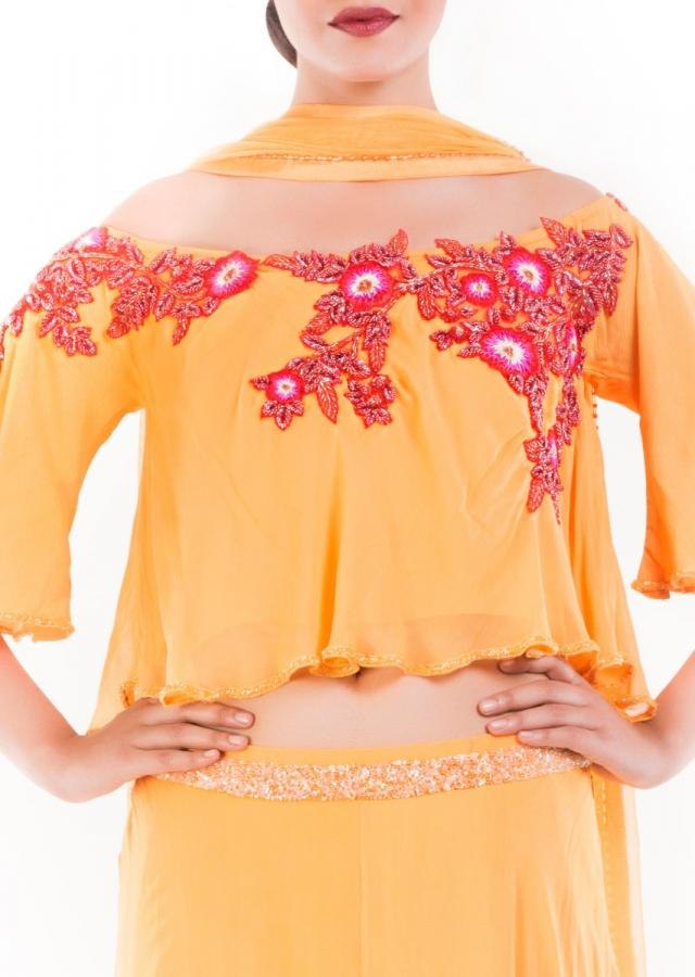 Honey Yellow Offshoulder Cape Lehenga Set Online - Kalki Fashion