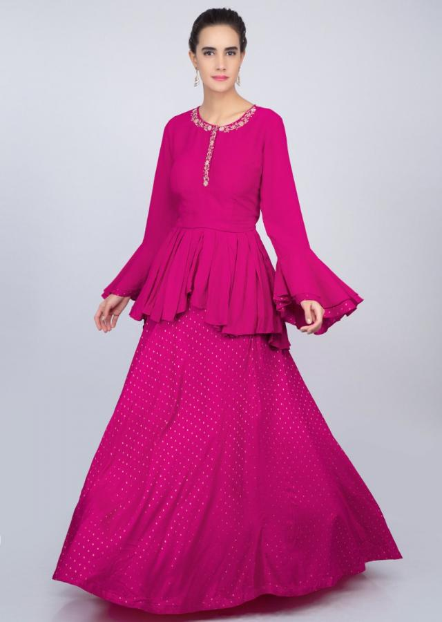 Hot pink cotton weaved lehenga with matching peplum top  only on kalki