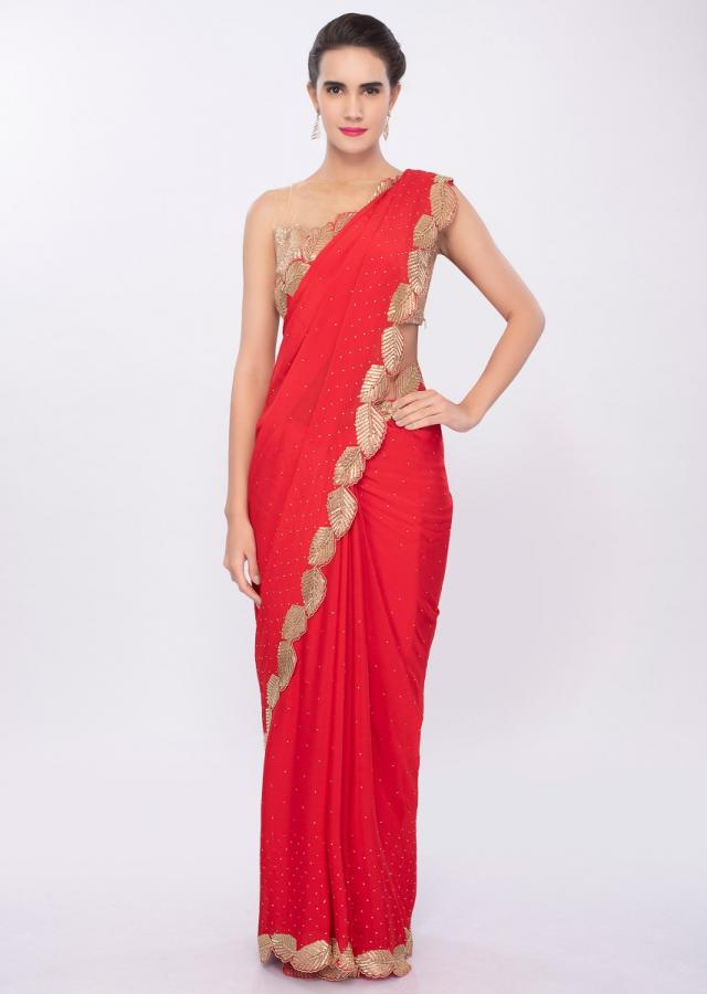 Hot Red chiffon saree in cut dana embroidered scallop border only on Kalki
