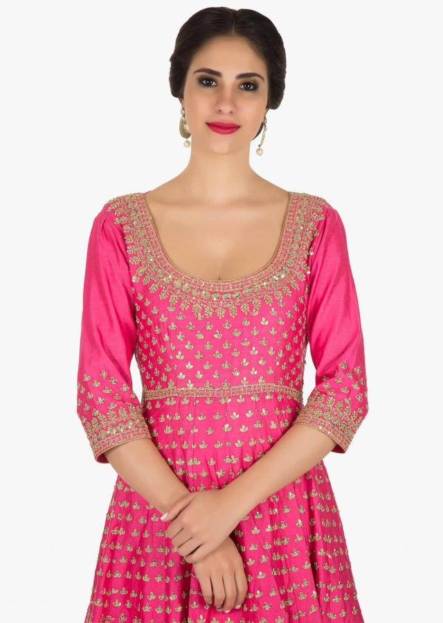 Hot pink anarkali suit in silk with sequin and thread work only on Kalki