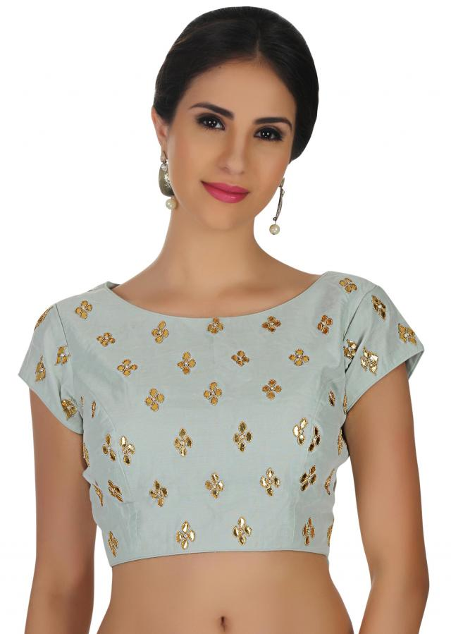 Ice blue blouse in gotta patch butti all over only on Kalki