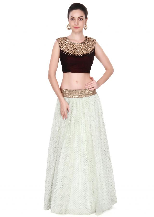 Ice blue lehenga adorn in sequin work only on Kalki