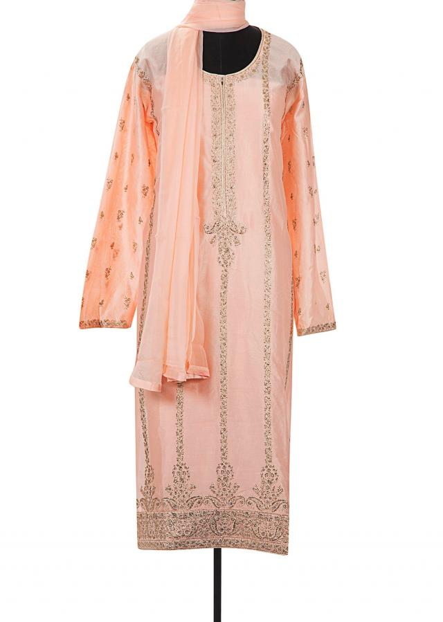 Ice peach semi stitched suit in paisley motif in zari only on Kalki