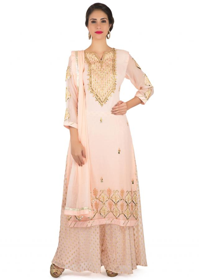 Ice pink straight palazzo suit with embroidered placket and hem only on Kalki