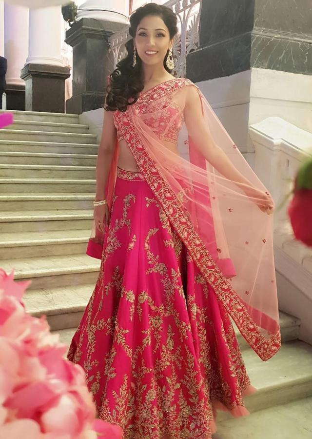 Neeti Mohan in Kalki fuschia pink raw silk embroidered lehenga and corset blouse