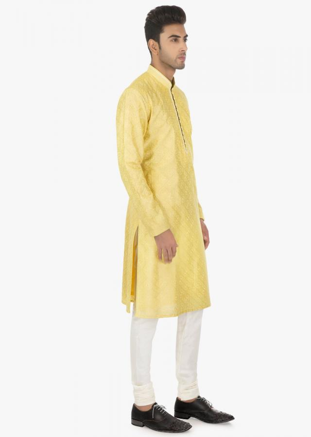 Impala cream silk kurta and white PS silk chudidar set only on kalki