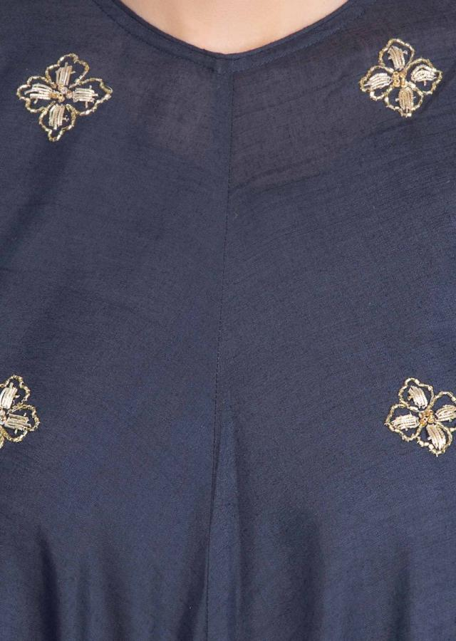 Indigo blue fancy tunic dress with handercheif cut hemline only on kalki
