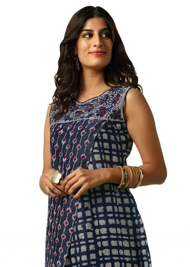 Indigo blue suit with cut work embroidered yoke