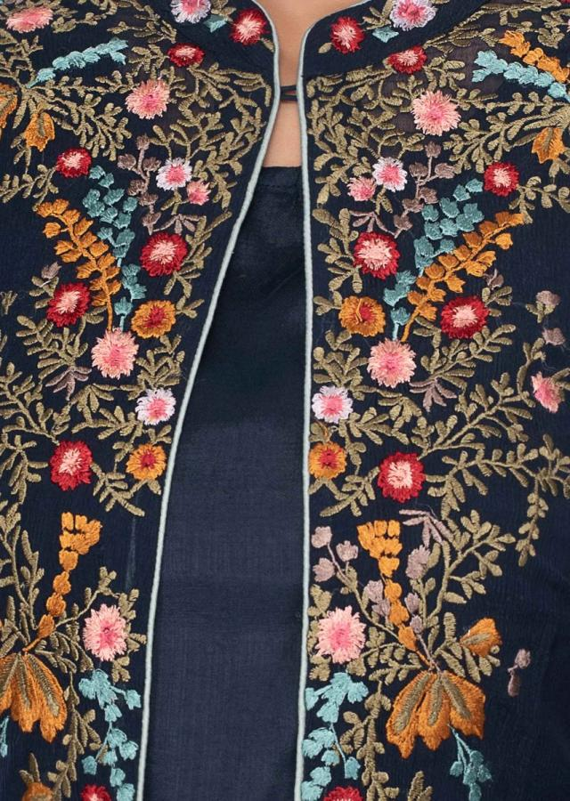 Indigo blue three piece suit in floral resham embroidery only on Kalki
