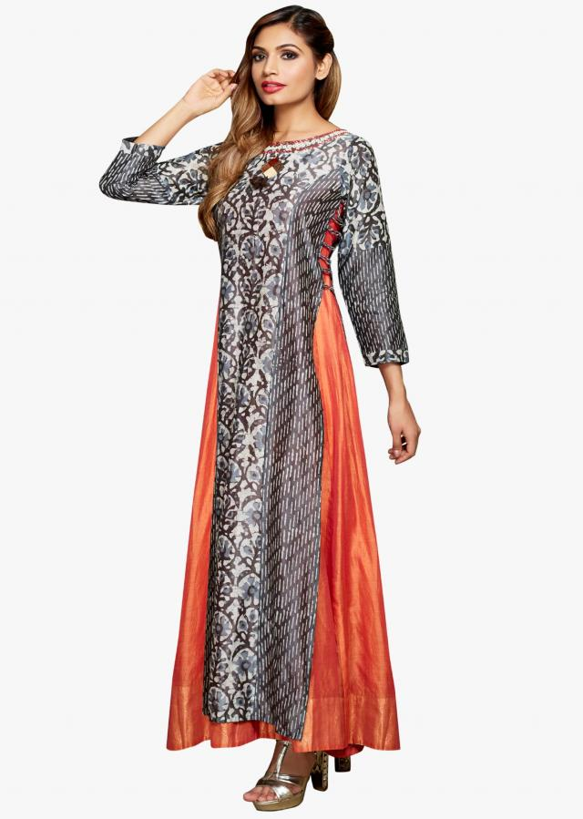 Indigo and orange anarkali suit in bagdu print and embroidered neckline