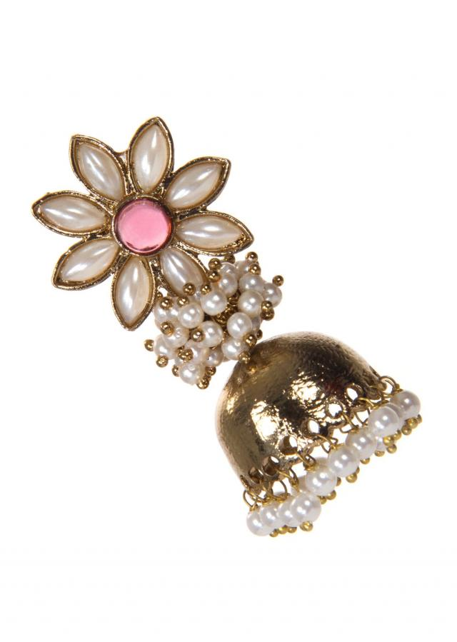 Indo Western Jhumkas With Pink And White Drops only on Kalki