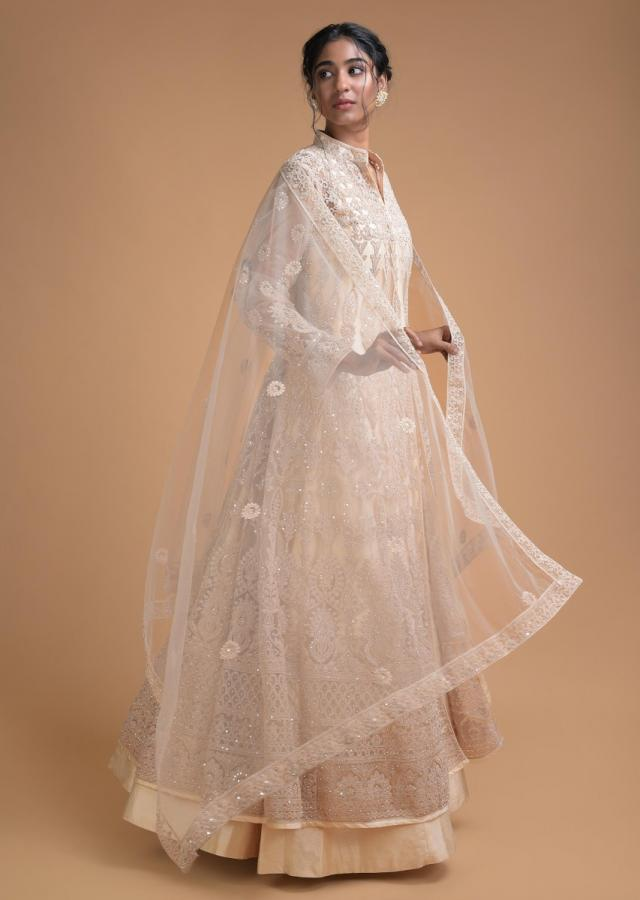 Ivory Anarkali Suit In Plain Raw Silk With Along Jacket In Embellished Net  Online - Kalki Fashion