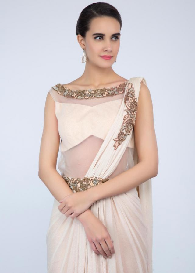 Ivory shimmer lycra saree gown with ready draped pallo only on Kalki