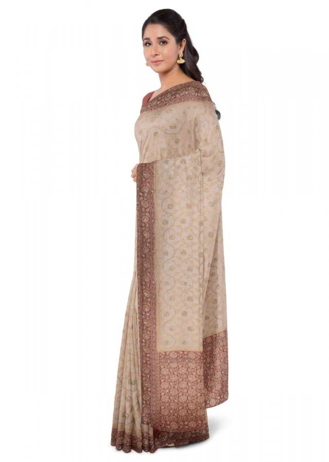 Ivory White Banarasi Saree In Chiffon With Weaved Floral Jaal Online - Kalki Fashion