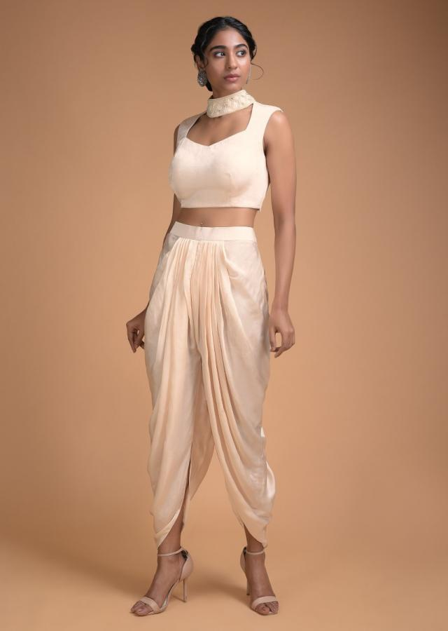 Ivory White Dhoti Suit With Long Jacket In Embellished Net Online - Kalki Fashion