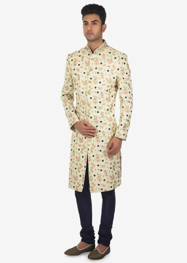 Ivory and Multi-colored Floral Embroidered Sherwani and Churidar Set Only on Kalki