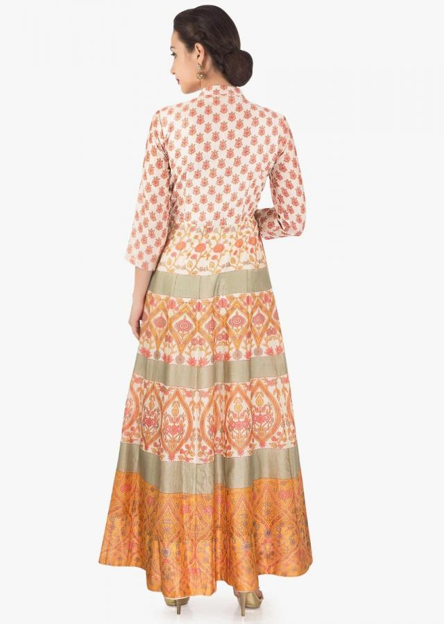 Ivory dress in cotton silk with pink and mustard floral print only on Kalki