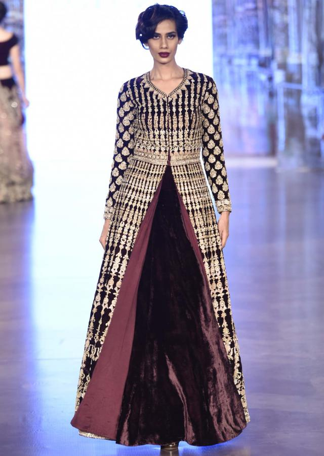 Jacket Lehenga in Burgundy embellished with zari and sequence work only on Kalki