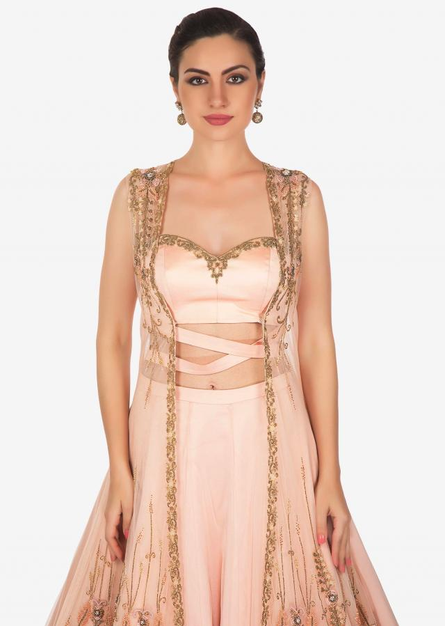 English Peach Jacket Lehenga With French Knot And Fancy Tie Up Online - Kalki Fashion