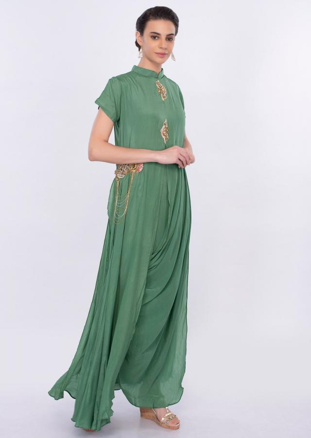 Jade green santoon tunic dress with cowl drape only on Kalki