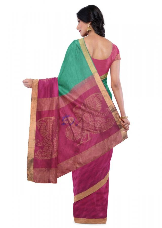 Jungle Green Banarasi Saree With Magenta Blouse Piece Online - Kalki Fashion