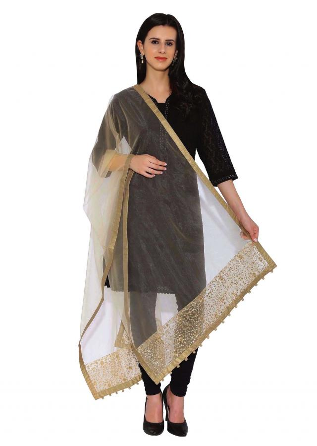Beige Dupatta In Net With Zari And Sequin Work On Border Online - Kalki Fashion