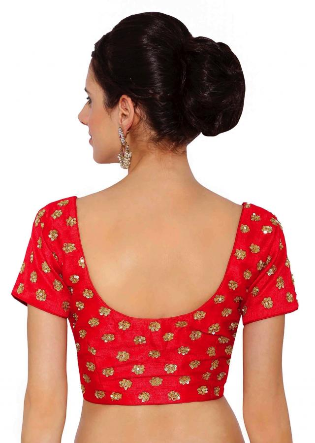 Cherry Red Raw Silk Blouse With Sequin Embroidery only on Kalki
