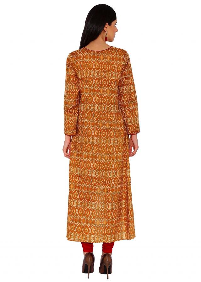 Kalki Mustard Designer Printed Kurti With Asymmetric Hemline And Piping Details