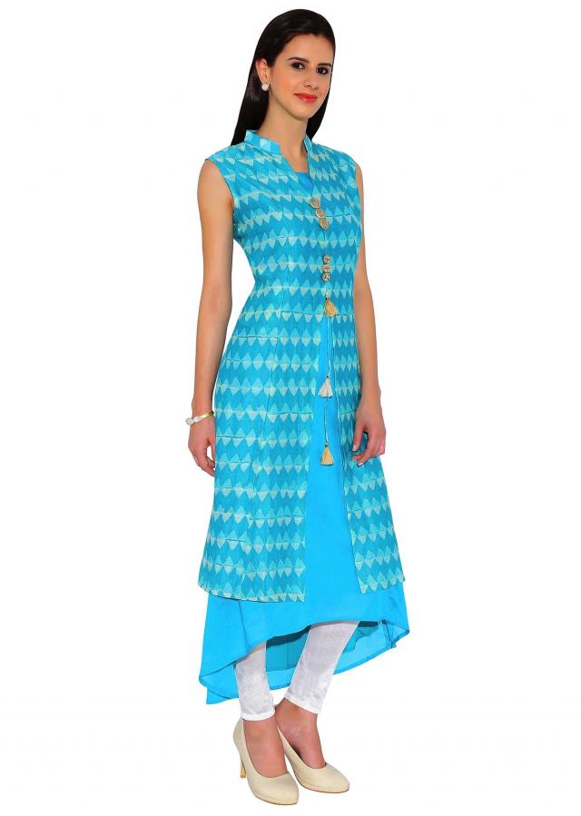 Kalki Peacock Blue Sleeveless Printed Jacket Style Kurti With Antique Fancy Buttons And Tassels