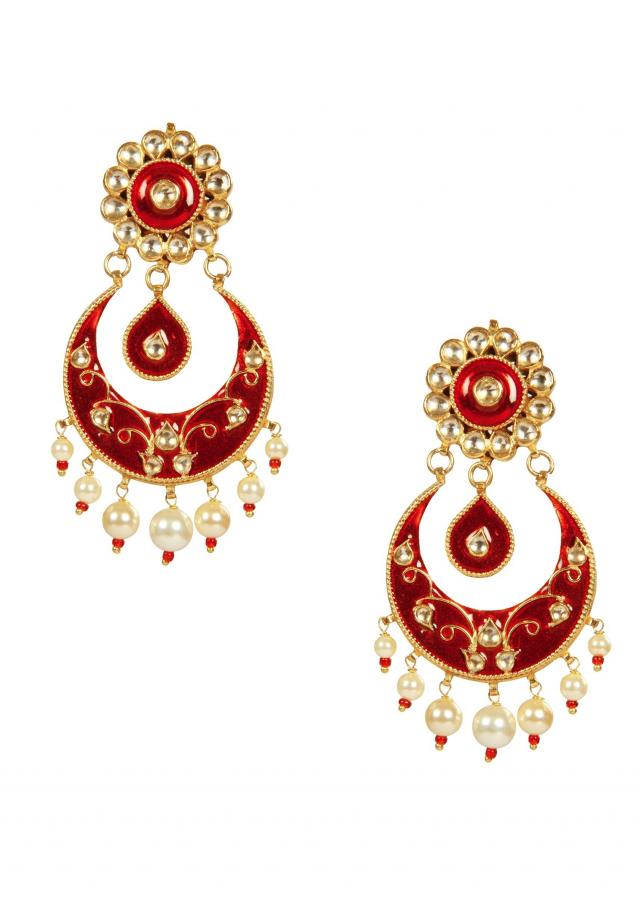 Kundan and red Stones Mughal Chandbali Earrings by Ra Abta for Kalki