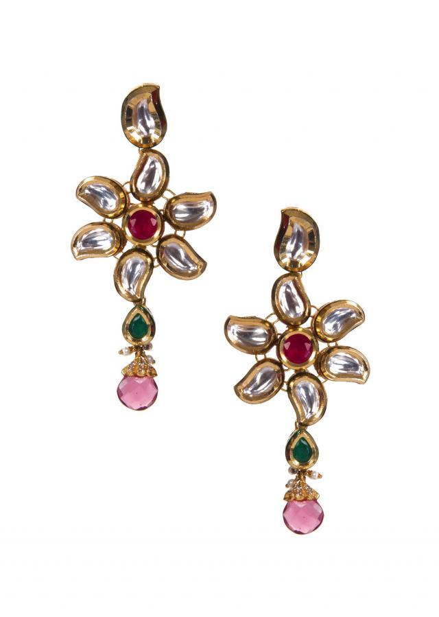 Kundan Earrings Adorn in Green and Pink Gems With Purple Drops only on Kalki