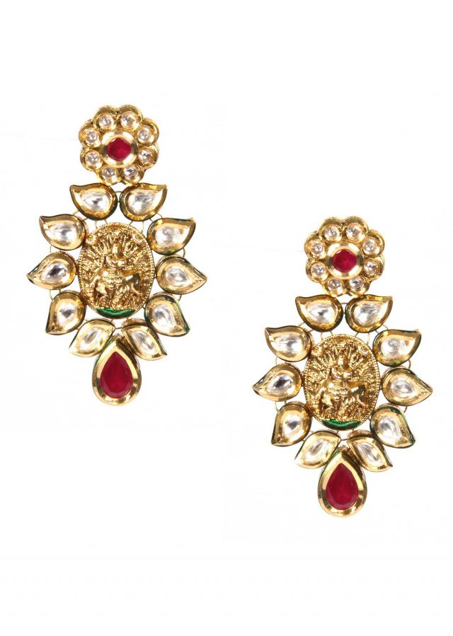 Kundan Earrings With Meenakari Work