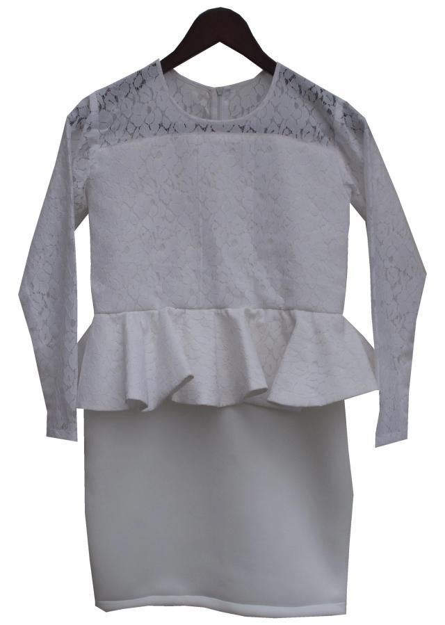 Lace Fabric Peplum Top with attached Skirt by Fayon Kids
