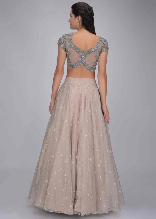 Laurel Green Lehenga In Organza With Embellished Net Blouse And Ruffled Dupatta Online - Kalki Fashion
