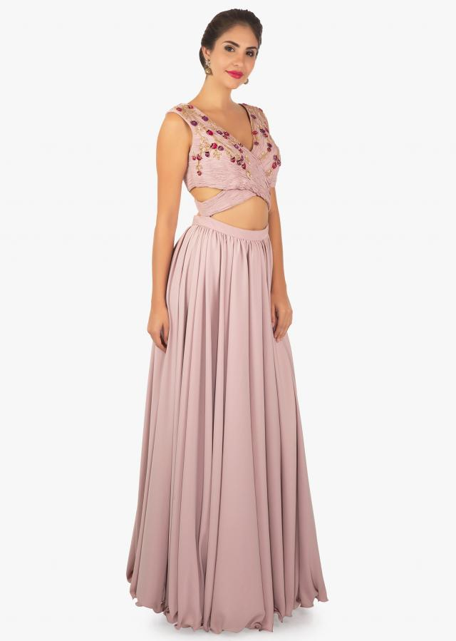 Lavender gown with ruching bodice only on Kalki
