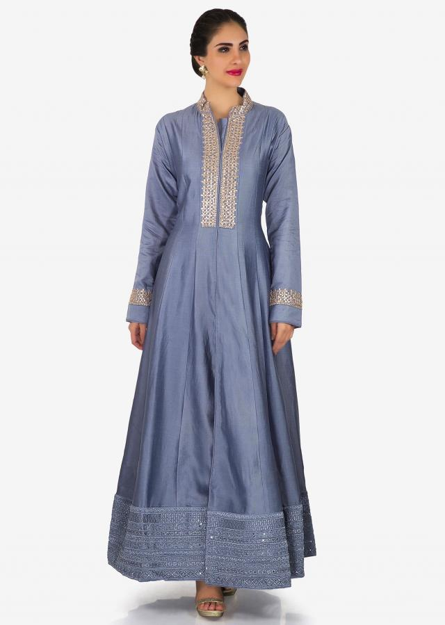 Lavender blue anarkali suit in silk with embroidered placket only on Kalki
